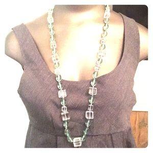 Talbots heavy prism lucite bead necklace sage
